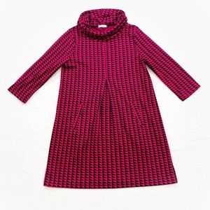 Tyler boe pink geometric print cowl neck dress